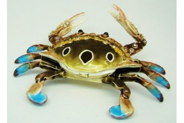 Coastal Nautical Blue Crab Jeweled Enameled Hinged Trinket Box