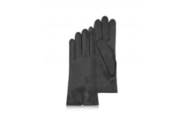 Women's Cashmere Lined Black Italian Leather Gloves