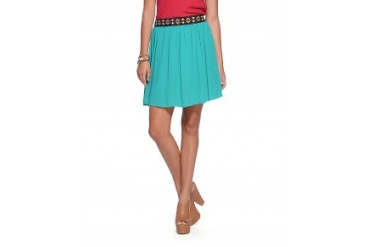 Miss Me Flippy Embroidered Waist Skirt Teal, L