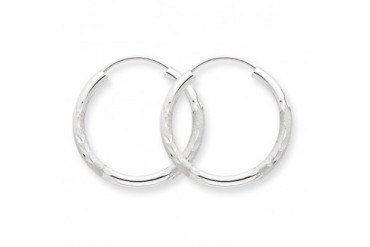 2mm, 14K White Gold, Diamond-cut Endless Hoops, 35mm (1 3 8 inch)