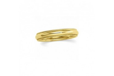 4mm Milgrain Edge Comfort Fit Domed Band in 14K Yellow Gold