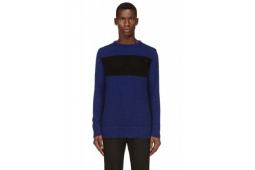Costume National Blue And Black Mohair Sweater