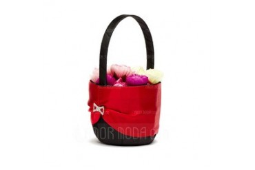 Classic Flower Basket in Satin With Rhinestones (102037486)