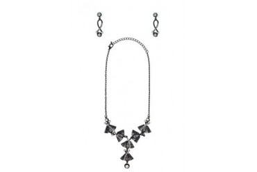 Black Queen Ribbon Necklace Set