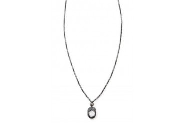 Victoria Long Pave Drusy Pendant Necklace in Hematite/Graphite - designed by MGEMS