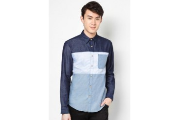 Long Sleeve Chambray Shirt With Stripe Panel