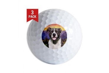 Pit Bull Meadow Dog Golf Balls by CafePress