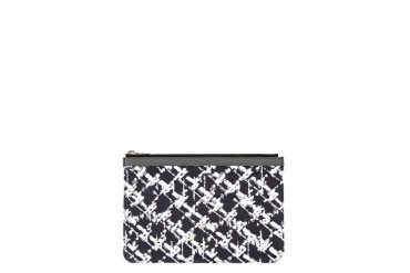 Proenza Schouler Blue And Black Canvas Tweed Print Zip Pouch