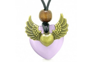 Angel Wings Double Lucky Heart Donut Amulet Magic Purple Cats Eye Necklace