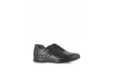 Black Padded Leather Sneaker
