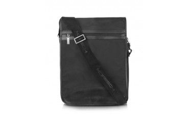 Black Techno Fabric Large Messenger Bag