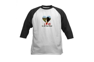 Love Is All You Need Dog Kids Baseball Jersey by CafePress