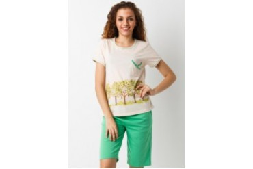 Puppy Short Sleeve Short Pants Tree Birds