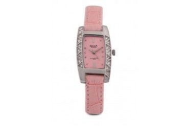 Omax ST0832-Pink Dial Stainless Steel Pink Strap Watch
