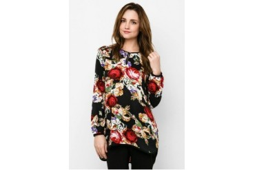 Triset Ladies Flower Print Long Sleeve Wo Collar