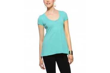 Alternative Apparel Basic V-Neck Short Sleeve T-Shirt Teal, M