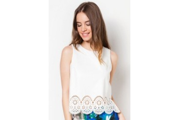 Something Borrowed Cutout Scallop Top