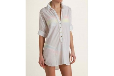 Subtle Luxury Embroidered Shirt Cover-Up White, Xs/S
