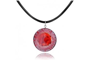 Silver Leaf and Murano Glass Round Pendant Necklace