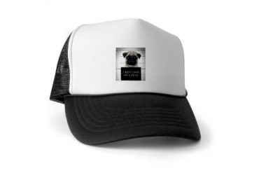 Pug mug Shot Funny Trucker Hat by CafePress