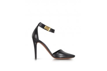 Black Ankle Strap Leather Pump