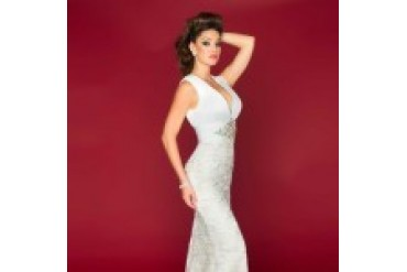Mac Duggal Black White Red - Style 81902R