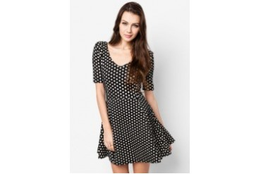 great fit new arrive buy popular RIVER ISLAND Black Polka Dot Jacquard Skater Dress - Price Comparison