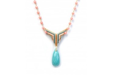 Chan Luu Salmon and Coral Rosary Chain Necklace With Turquoise Drop Coral