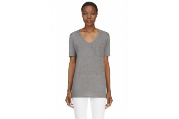 T By Alexander Wang Heather Grey Classic Pocket T shirt