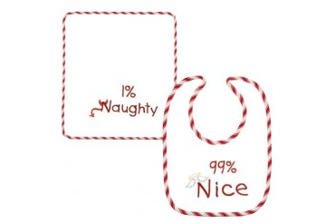 Holiday Baby Bib with Burp Cloth 99% Nice 1% Naughty 2 Piece Set