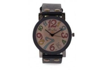 Fourskin Black Colourful Leather Watch