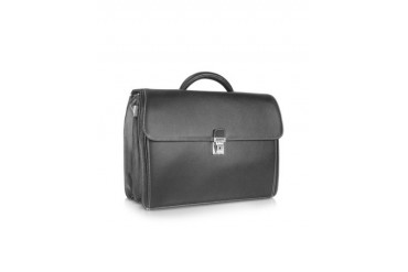 Rialto - Black Embossed Calf Leather Laptop Briefcase