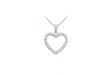 14K White Gold Floating Heart Cubic Zirconia Pendant Necklace 1.25 CT CZ