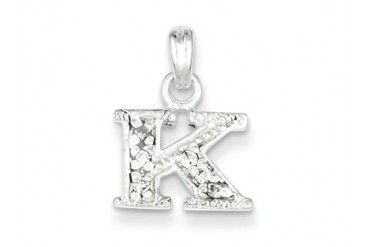 Sterling Silver Cubic Zirconia Initial K Pendant Chain Included