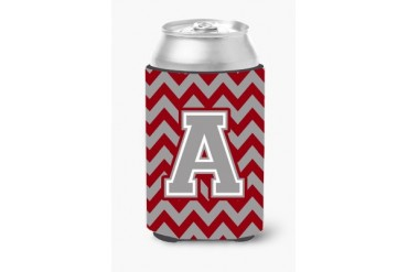 Letter A Chevron Crimson and Grey Can or Bottle Hugger