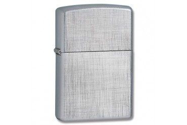Zippo Lighter with Linen Weave Directional Brushed Chrome Finish