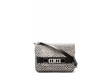 Proenza Schouler Black And Off white Graphic Tweed Ps11 Mini Classic Shoulder Bag