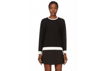 Rag And Bone Black Mesh Classic Racer Sweater
