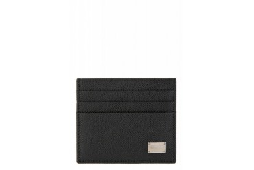 Dolce And Gabbana Black Pebbled Leather Card Holder