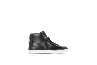 Black Leather High-Top Sneaker