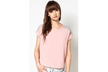 New Look Petite Shell Pink Contrast Woven Mix T-Shirt