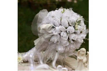 Romantic Round Satin Bridal Bouquets (124032062)