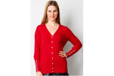 Noir Sur Blanc Ladies Card With Button Cardigan