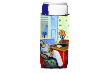 Lady with her Pug Ultra Beverage Insulators for slim cans 7166MUK
