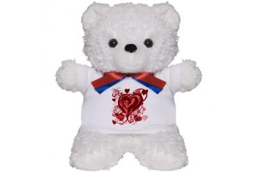 Pink and red hearts Love Teddy Bear by CafePress