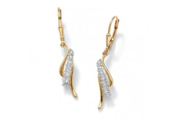 Diamond Earrings in 18k Gold over Sterling Silver