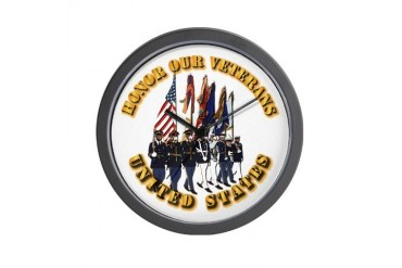 Honor Our Veterans Military Wall Clock by CafePress