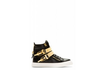 Giuseppe Zanotti Black And Gold Double buckle London Sneakers
