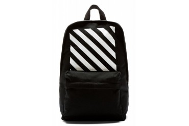 Off white Black And White Stripe Canvas Backpack