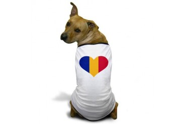 Romania flag heart Flag Dog T-Shirt by CafePress